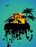 Elephants silhouette on grunge background
