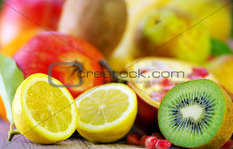 Kiwi , lemon and variety fruits