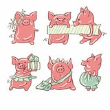 Cartoon pigs