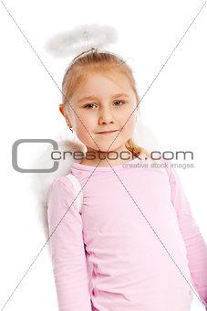 Little girl in angel costume.
