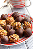 chocolate pralines in plate