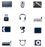 Vector laptop accessories icon set