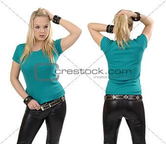 Blond woman posing with blank jade shirt