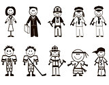 Cartoon professions icons