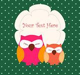 Card with sleeping owls