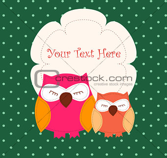 Card with sleeping owls
