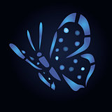 Blue butterfly on black background