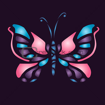 Butterfly on purple background