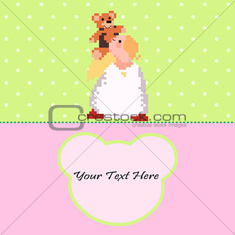 Angel with a Teddy Bear vector card