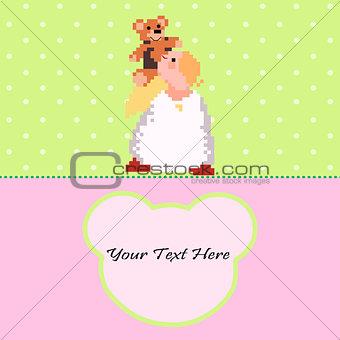Angel with a Teddy Bear vector card