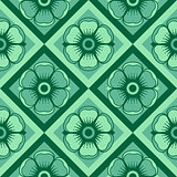 Geometrical pattern with flowers in green colors