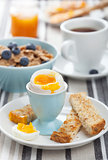 healthy breakfast with egg and cornflakes