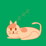 Vector illustration of cat sleep