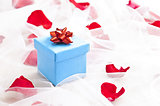 Blue Gift box with red bow on wedding veil