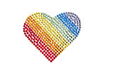 Rainbow heart made of Rhinestones