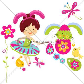 little girl in bunny costume