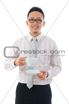 asian business man with coffee