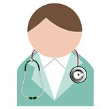 Doctor with stethoscope. Buddy icon.