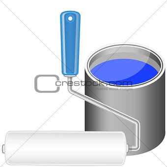 Paint roller and bucket with blue paint