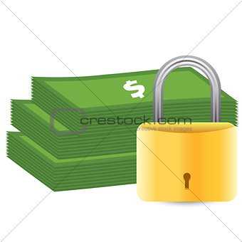 Money and padlock. Safety concept.