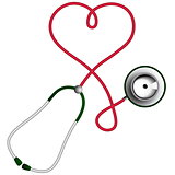 Heart shape stethoscope. Cardiology concept.