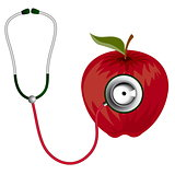 Stethoscope and red apple icon