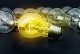 Idea concept with incandescent light bulbs