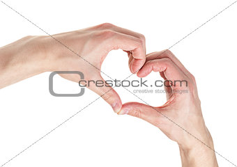 adult male hands shows heart shape
