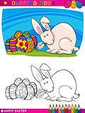 easter bunny cartoon illustration for coloring