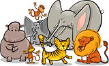 african safari wild animals cartoon illustration