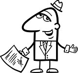 man with signed contract cartoon