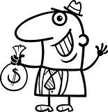 happy man with money cartoon