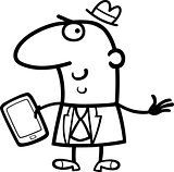 man with tablet cartoon illustration