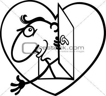 man in big valentine heart cartoon illustration