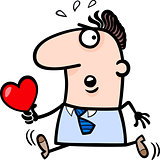 man with valentine card cartoon illustration