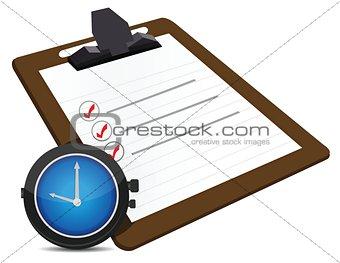 classic office clock, check list