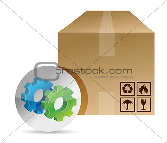 box and gears illustration