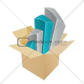 business charts coming out of a box