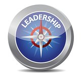 leadership red word indicated by compass