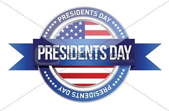presidents day. us seal and banner