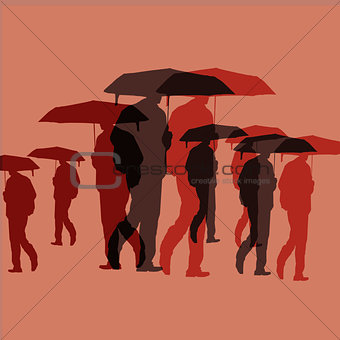 Silhouettes of Men With Umbrella