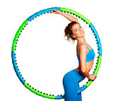 Slim Young Woman with Hula Hoop