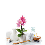 spa composition with beautiful pink orchid