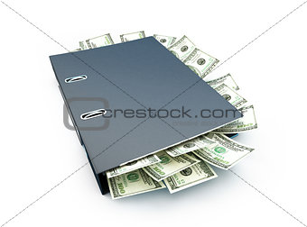 Office folder full of dollars