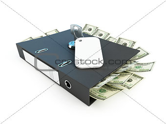 folder full of dollars with the private key