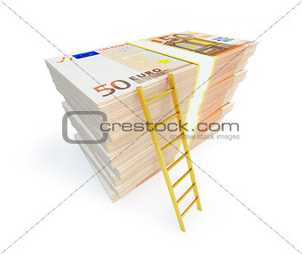 Ladder On Stack From Packs Of Euro