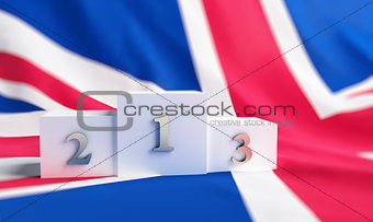 Britain flag on it a pedestal