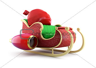 santa sleigh and Santa's Sack with Gifts