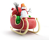 santa sleigh and Santa&#39;s Sack with Gifts snowman