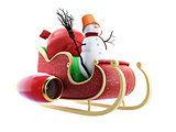 santa sleigh and Santa's Sack with Gifts snowman